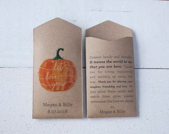 Pumpkin Personalized Seed Packet Wedding Favor – Let Love Grow – Custom Seed Packet – Seed Envelope Wedding Favors – Many Colors Available