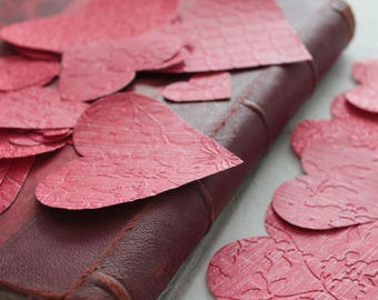 30 large hearts embossed, heart embellishments for crafting, scrapbooking, textile arts, 964