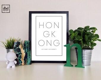 Hong Kong ~ Printable, Wall Decor, Country, Latitude, Longitude, Location, Poster, Digital Print, Black & White