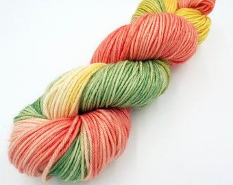 Hand Dyed Yarn 100% Superwash Merino Yarn Worsted Weight Yarn - 220 Yards - Tonal Yarn Peach Yarn Green Yarn Yellow Yarn - Papaya