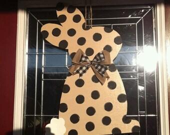 Polka Dot Bunny Rabbit Wood Door Hanger