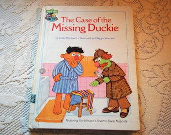 "Sesame Street Book Club ""The Case of the Missing Duckie"" by Linda Hayward Very Good Condition Ex~Library Children's Reader Book"