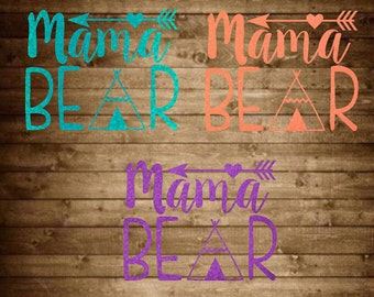 Mama bear decal, glitter decal, mama bear cup decal, mom bear car decal, mama bear sticker, bear decal, mama decal, mom sticker, mug decal
