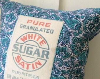 Sugar Sugar 5 Vintage Feed Sack Pillow Cover