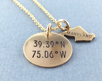 GPS Coordinates & State Charm Necklace, Sterling Silver, 14k Gold Fill, Locations Jewelry, Latitude Longitude Jewelry