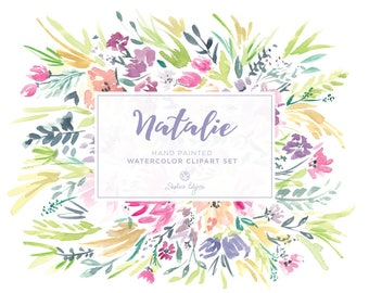 Watercolor Floral Clip Art - Natalie - Bright, Colorful, Wildflowers. Easily make beautiful Wedding Invitations & More