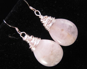 Rose Quartz Earrings, Wire Wrapped Earrings, Bridesmaid Gift, Bridal Earrings, Hand Wired, Under 30, Wedding Jewelry - Pale Rose