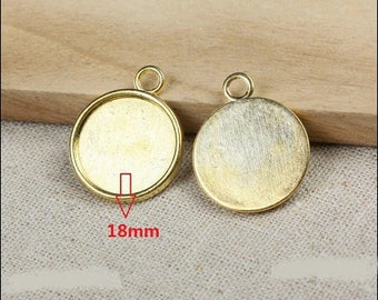 18mm: 5 round supports kidney cabochon 18mm
