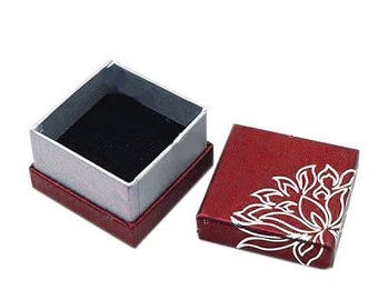 1 x red/silver - ring - Lotus jewelry box