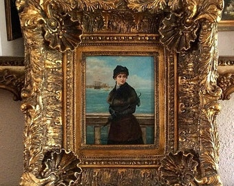 Sale Antique Vintage Oil Painting Portrait of a Early 20th C. French Woman Gorgeous Baroque Gold Frame