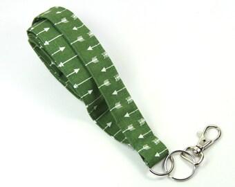 ARROW Fabric lanyard, Green arrow badge holder, Arrow Lanyard, Green badge holder, Green Lanyard