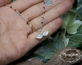 Angel wings necklace sterling silver, rosary necklace, One Of A Kind jewel, eco silver, anniversary gift, made in Italy, family gifts