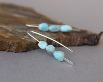 Larimar Drop Earrings, Short Light Blue Larimar Earrings, Blue Earrings, Sterling Silver Earrings, Larimar Pebble Stacked Stone Earrings