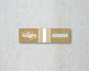 Hessian Floral Wedding Straw/Cupcake Flag