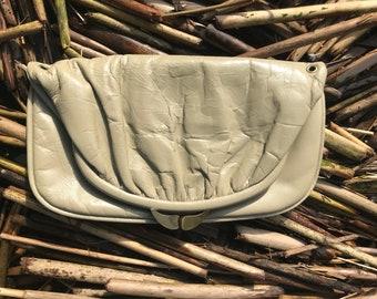 Vintage fold-over envelope clutch in bone