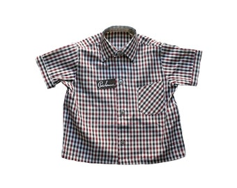 FRENCH vintage 70's / kids / shirt / shorts leeves / checkered coton / new old stock / size 4 years