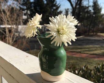 Green Ceramic Small Bud Vase / Pottery / Flowers / Gift / Handmade / Bridesmaid Gift / Wedding Center Piece /