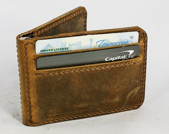 Leather Bifold Clip Wallet