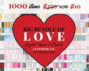 Big Bundle of Love 1000 high quality digital papers & cliparts - romance, wood, frames, gold, glitter, labels, chalkboards, chalk clip art