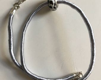 Silver/Grey bracelet with Murano glass charm