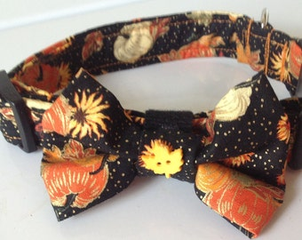 Thanksgiving & Fall Bow Tie Dog and Cat Collar with Pumpkins and Leaves