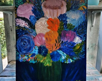 16x20 Vibrant Colorful Abstract Floral Bouquet Acrylic Painting on Canvas Panel