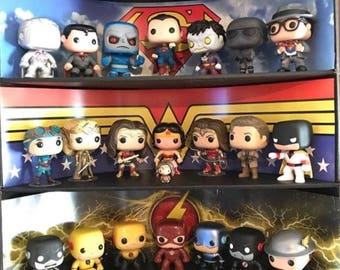 Exclusive Stackable Funko Pop Classic Display with 3 DC Comics Backdrop Inserts, Black Corrugated Cardboard (Toys not included)