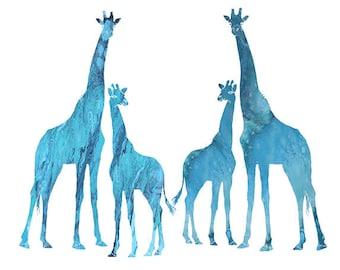 Watercolor Clip Art Digital Download Giraffe Clip Art blue red giraffe kid huge set