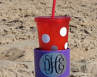 Monogrammed Drink Spiker Beach Cup Holder  - Holds Your Beverage in the Sand, Personalized Spring Break Beach Gift, Purple Shown