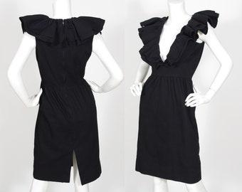 1980s Vintage Plunge Neck Dramatic Ruffle Collar Black Cotton Dress Sz XS S