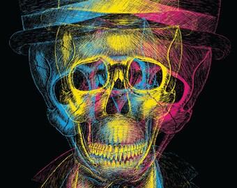 Worked to Death- A3 art print by Jon Turner- surreal skulls CMYK artwork- FREE worldwide shipping