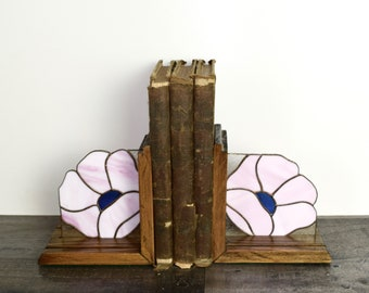 Vintage stained glass bookends...pink flower bookends...staggered height...bohemian jungalow.