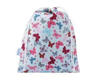 Drawstring Wash Bag, Girls, Ladies Toiletry Bag - Butterfly