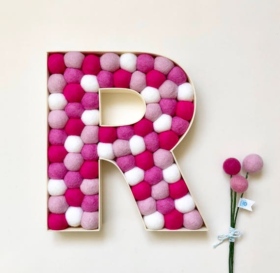 Wooden Letter in Pinks and White