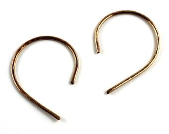 Bronze hoop earrings / Loop earrings / Bronze threader earrings / minimal earrings / shopsandandsilver victoria bc vancouver island canada