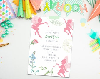 Fairy Invitation. Fairy Birthday Invitation. Fairy Birthday Theme. 3rd birthday. 4th birthday. Flower Birthday Invitation. Girl Birthday.