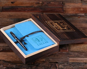 Monogrammed Personalized Engraved Notebook Diary with Pen and Wood Box, Journal, Sketchbook , Bridesmaid Christmas Customized Gift (025320)
