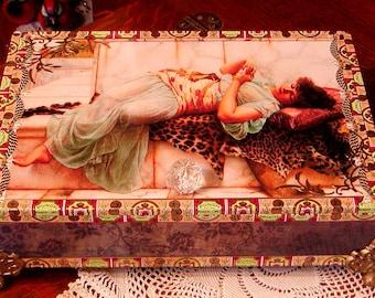 Godward's THE BETROTHED DRESSER Box Altered Cigar Box  Brown/Cream Vintage Image Keepsake Box Neo-Classical
