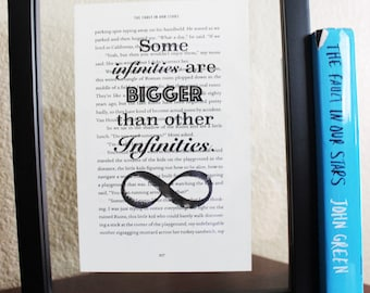 The Fault in Our Stars • Some infinities are bigger • Book Print • Book Quote • John Green • FIOS book lover • Hazel Grace • Birthday Gift