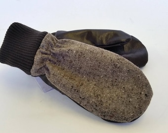 Knitted Mitten recycled leather and brown wool mix KAZAK ethical leather