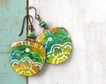 Polymer Clay Earrings Jewelry featuring a Boho Batik Design in Green, Lime, Tan and White