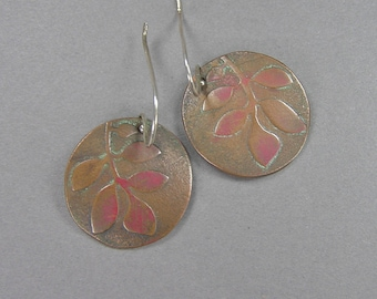 Art Nouveau Earrings, Copper Leaves, Patinated, Arts & Crafts Style, William Morris, 80's Earrings