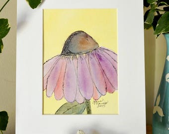 Coneflower Original Watercolor No. 2 by Lana Manis, Cottage, Garden, Whimsical Artwork, Ready to Frame