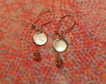Short Disc & Topaz Crystal Earrings - Customizable, 14K Gold Filled, Rose Gold, Sterling Silver, Sale, Discount Coupons, Free Shipping