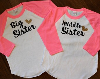 Big Sister Shirt, Middle Sister Shirt, Big Sister At Last, Big Sister Shirts, Big sister shirt, Big Sister Big brother shirt set.