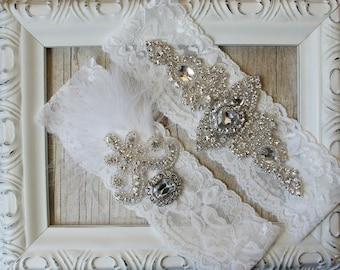 "Wedding garter set - Vintage Garter Set w/ ""Diamonds"" and Rhinestones on Comfortable Lace, Wedding Garter Set, Wedding dress, bridal garter"