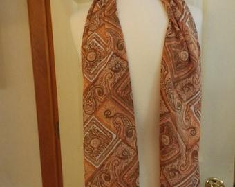 Vintage Long Scarf, Retro Fashion, Women's Accessory, Brown/White, Scarf, Shawl