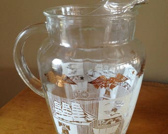 Vintage Anchor Hocking Glass Pitcher Americana Federal