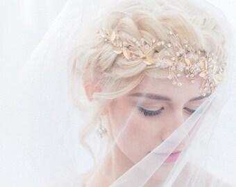 Gold Leaf Bridal Crown, Gold Bridal Hair Vine, Bridal Halo, Bridal Headpiece, Headband