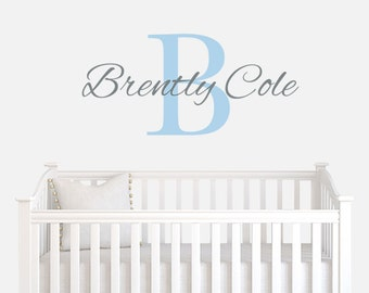 Vinyl Name Decal For Nursery or Kids Bedroom - Personalized Wall Decal - Baby Boy